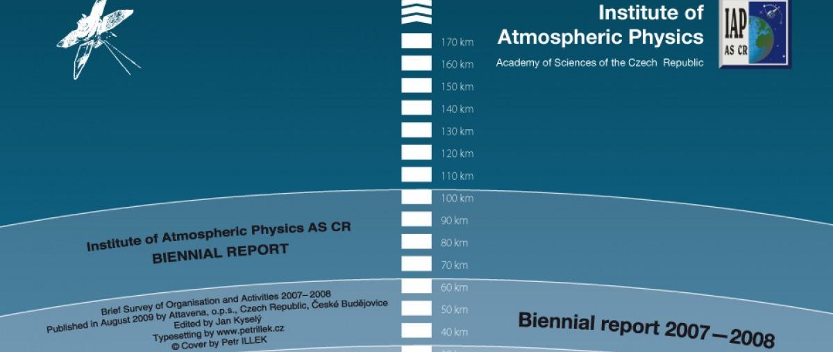 Obálka výroční zprávy pro Ústav Fyziky Atmosféry AVČR